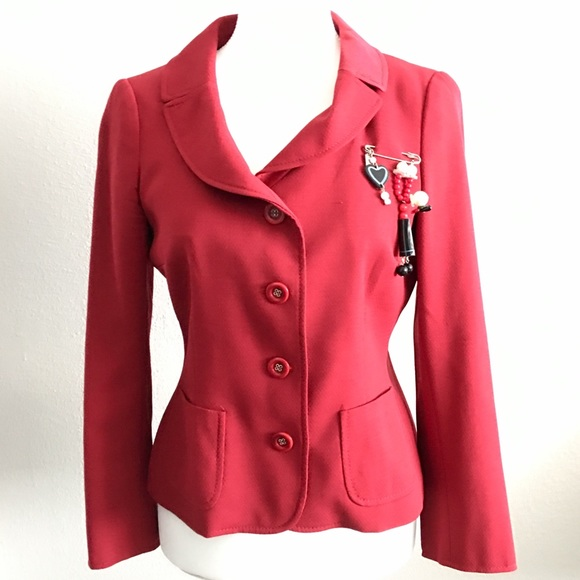 d4af640cba Moschino Jackets & Coats   Cheap And Chic Red Olive Blazer   Poshmark